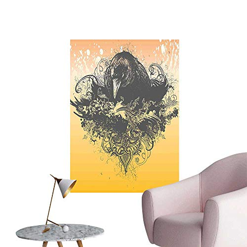 (Wall Decorative Halloween Theme Vector Illustration of a Wicked Crow and Flowers Print Black and Pictures Wall Art Painting,12