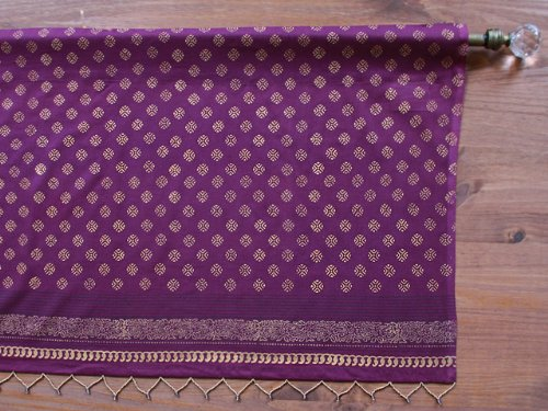Mystic Amethyst ~ Plum Purple & Gold Sari Print India Valance 46x17 (Amethyst Plum)