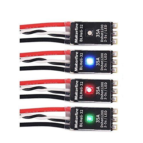 4pcs Makerfire 35A Brushless ESC LED BLHeli_32 2-5S Electronic Speed Controller RGB LED 3D Mode Support Dshot150/300/600/1200 Oneshot125 Oneshot42 MultiShot for RC FPV Racing Drone Quadcopter