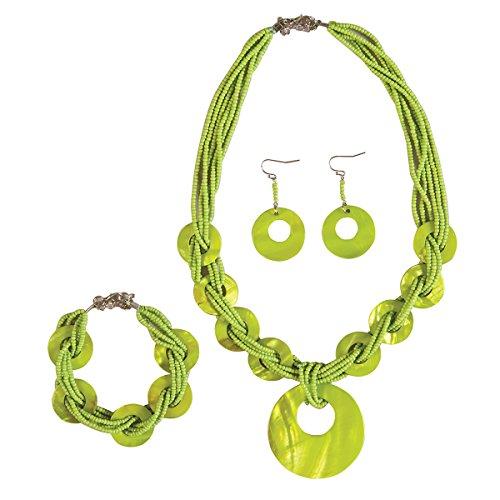 C&F Home Lime Shell Necklace Bracelet Earrings Set ()