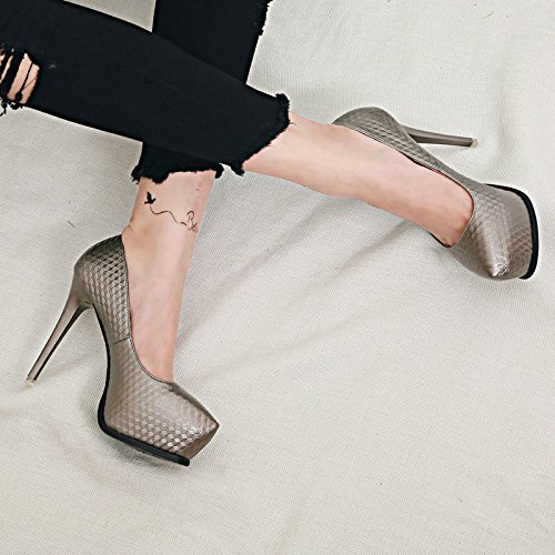 Head Gun MDRW Lady Rhomge Color 36 Work Spring Sexy 11Cm Night Fine Heels High Shoes Shallow Grain Elegant Leisure Round Platform Shop Mouth Waterproof Single Heel Shoes xxTXrw