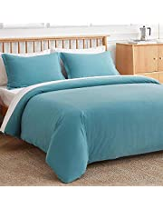 VEEYOO Cotton Duvet Cover - 100% Washed Cotton Comforter Cover with Zipper Closure & Corner Ties, Soft Breathable 3 Pieces Duvet Covers