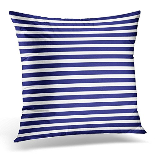 SPXUBZ Green Horizontal Striped Blue and White Pattern Stripes Abstract Announcement Decorative Home Decor Square Indoor/Outdoor Pillowcase Size: 16x16 Inch(Two Sides)