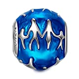 "Christmas gifts, NinaQueen ""Family"" 925 Sterling Silver Blue Enamel Round Shape Bead Charms"