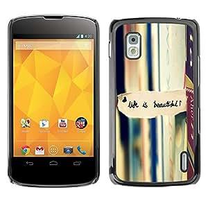 TopCaseStore / la caja del caucho duro de la cubierta de protección de la piel - Life Is Beautiful Books Reading Text - LG Google Nexus 4 E960
