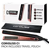 "Corioliss C1 Professional Titanium Flat Hair Iron, Limited Edition Black Zebra Metallic Copper Effect, 2 Year Warranty, 1"" Titanium Plates, Anti-Static, Anti-Frizz, Travel Pouch Included"