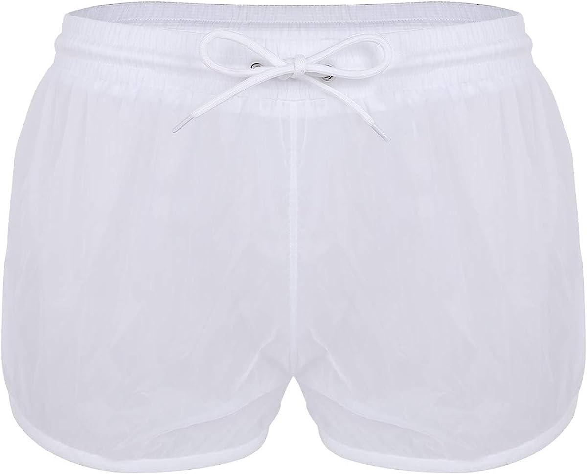 ACSUSS Mens Mesh Sheer See Through Boxers Shorts Drawstring Swim Trunks Underwear