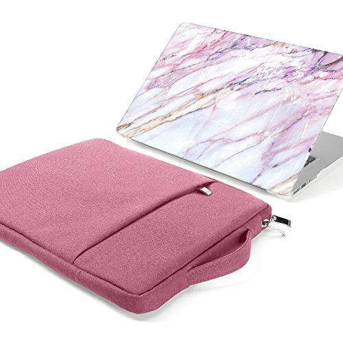 GMYLE 2 in 1 Bundle Pink Marble Soft-Touch Matte Plastic Hard Case for Macbook Air 13 inch (Model:A1369/ A1466) and 13-13.3 inch Water Resistant Protective Laptop Bag Sleeve with Handle & Pocket, (Pink Hard Rubber)
