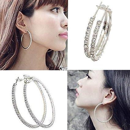 Women Crystal Diamante Rhinestone Silver Plated Hoop Round Earrings Jewelry Hot