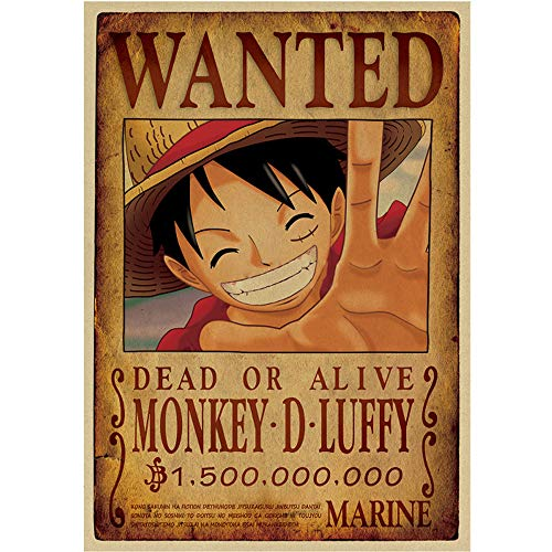 2018 One Piece D Luffy Wanted Posters Vintage Anime Poster P