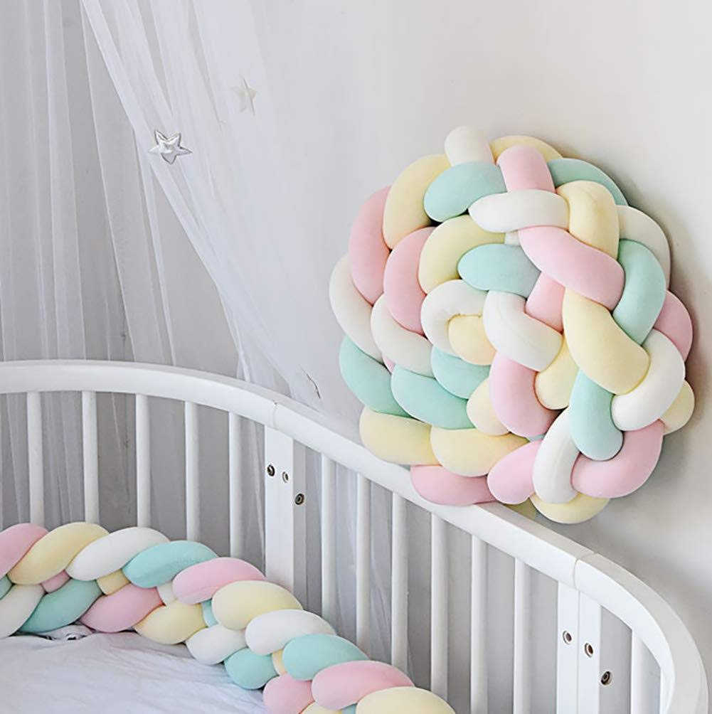 Blue, 2.2m Baby Crib Braided Bumper Soft Bedside Pillow Protective /& Decorative Baby Nursery Bedding Cushion Knot Plush Bumper