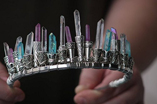 aqua aura quartz crystal crown, purple aura quartz crystal tiara, moon goddess headpiece, cosplay headpiece, fairy queen, high priestess
