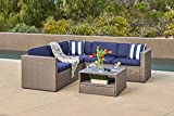Solaura Outdoor 4-Piece Sofa Sectional Set All Weather Warm Grey Wicker with Nautical Navy Blue Waterproof Cushions & Sophisticated Glass Coffee Table | Patio, Backyard, Pool