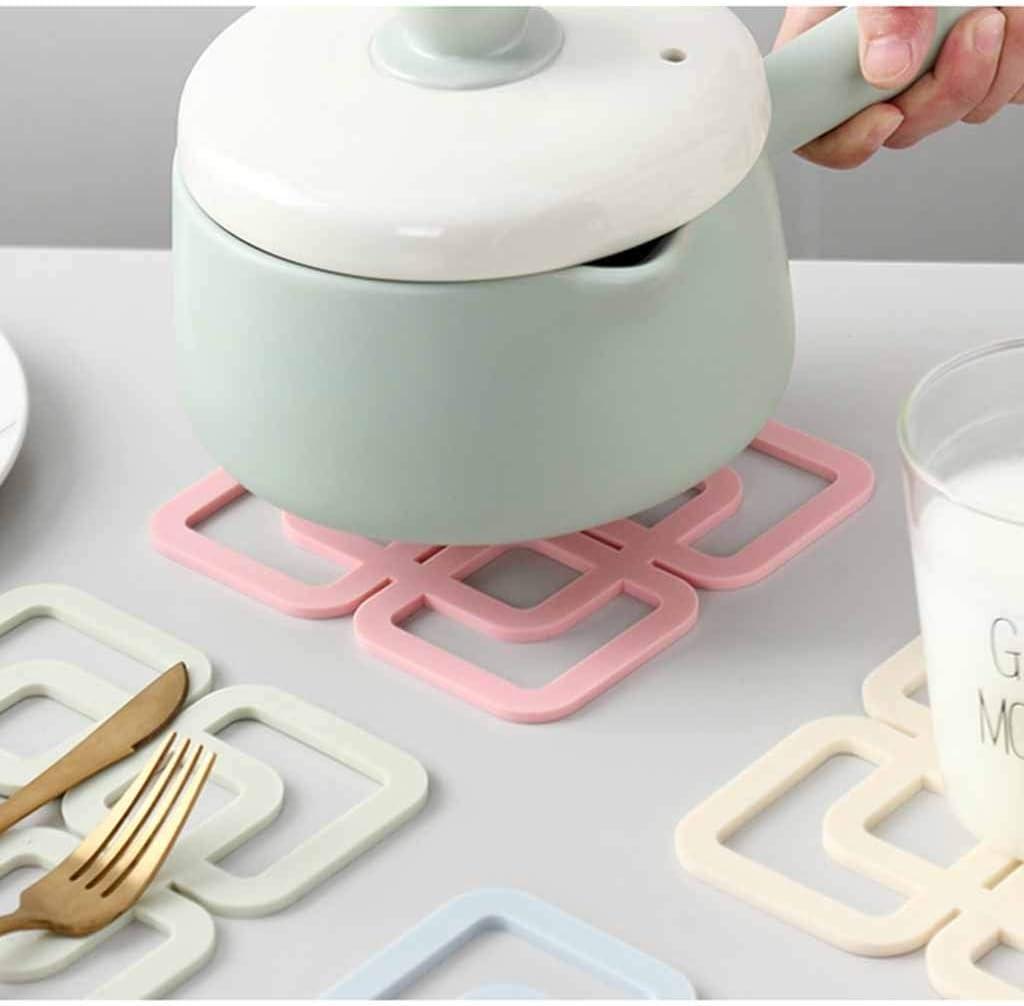 3-Piece Hollow Insulation pad TPR Pot Holder Dish mat Pot Rack Placemat Non-Slip Color : Blue Anti-Scald and Durable