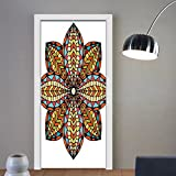 Gzhihine custom made 3d door stickers Mandala Floral Motif Geometric Colorful Petals Curvy Elliptic Design Ethnic Traditional Art Multicolor For Room Decor 30x79