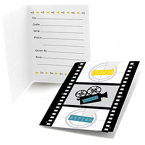 Big Dot of Happiness Movie - Hollywood Fill in Party Invitations (8 Count)