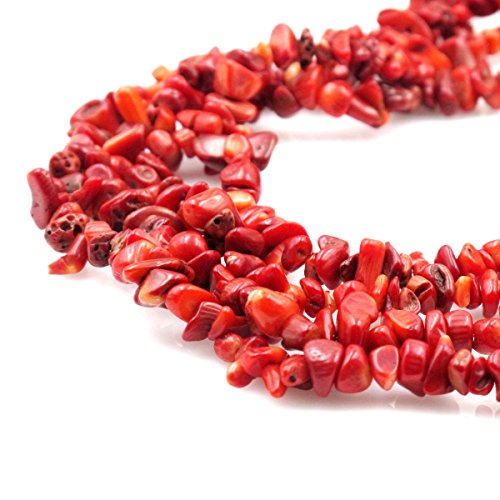 Red Chip Bracelet Coral (BRCbeads Nice Red Coral Chips Beads 7~8mm 34 Inches per strand For Jewelery Making)