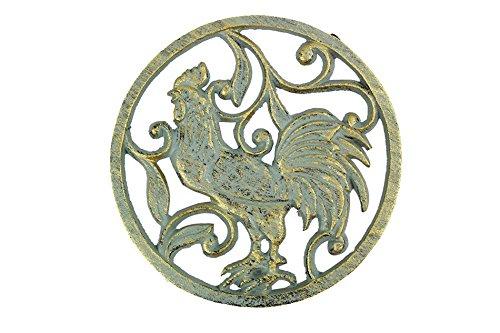 "Price comparison product image Antique Seaworn Bronze Cast Iron Rooster Trivet 8"" - Cast Iron Rooster Home Dec"