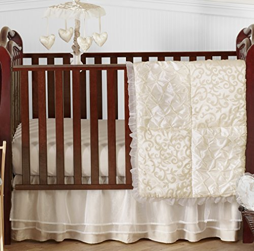 Jojo Satin Blanket Designs Designer (Champagne and Ivory Victoria Baby Bedding 4 Piece Girl Crib Set Without Bumper)