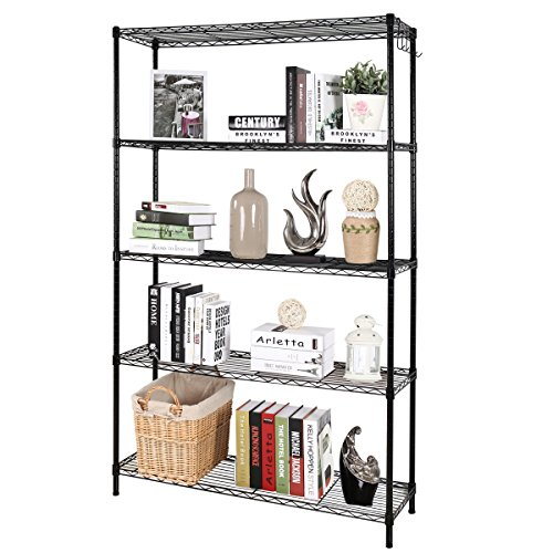 "5-Shelf D17.7"" W47.2"" H67"" Black Steel Storage Rack Adjustable Wire Shelving Unit WJH45170-5BK"