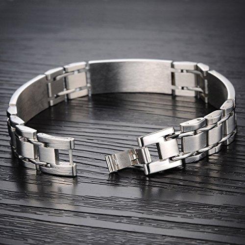 Flongo Bracelet Acier Inoxydable Reglable Plaque Lien Poignet Bijoux Cadeau Avec Fermoir Couleur Argente Noir pour Homme