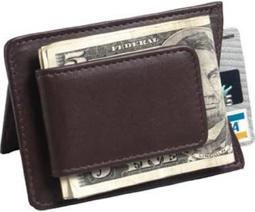 Magnetic Leather Money Clip Color: Brown