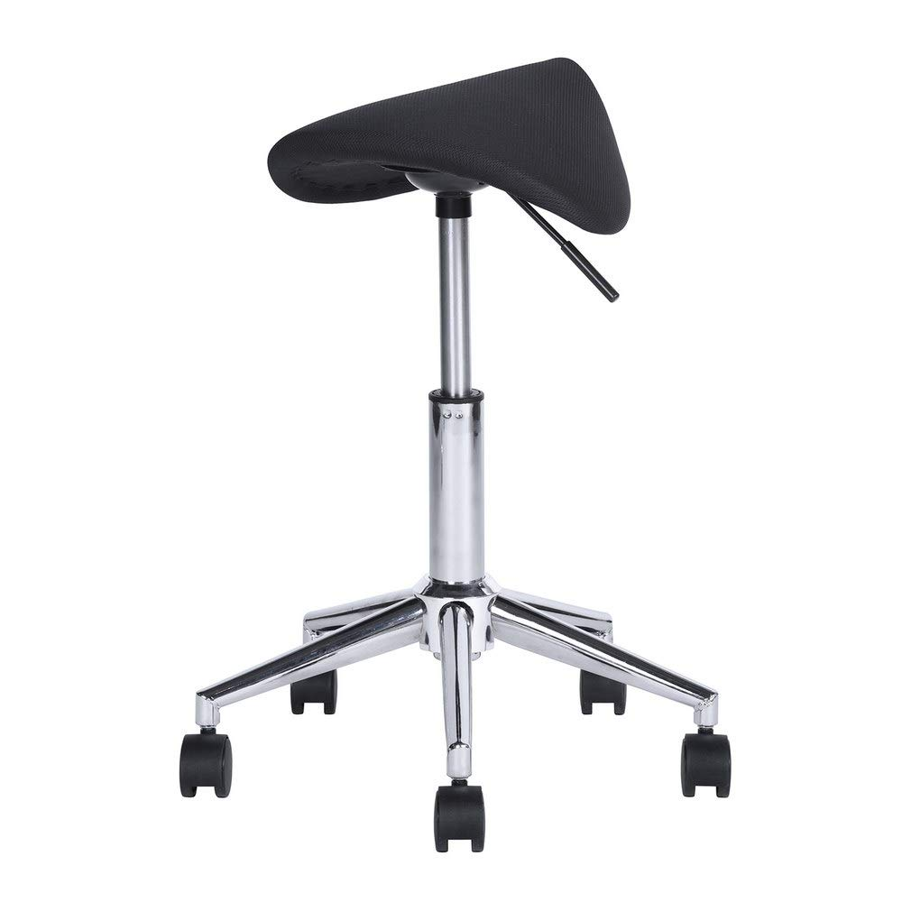 Aingoo Saddle Stool, Spa Stool Height Adjustable Hydraulic Swivel Massage Chair with Wheels