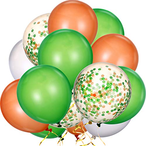 TecUnite 80 Pieces Latex Balloons Confetti Balloons Colorful Party Balloons for Christmas Valentine's Day St. Patrick's Day, 12 inch (Green, White, Orange)