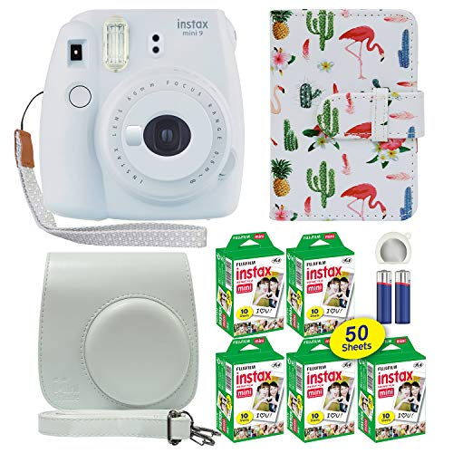 Fujifilm Instax Mini 9 Polaroid Instant Camera Smokey White with Custom Case + Fuji Instax Film Value Pack (50 Sheets) Flamingo Designer Photo Album for Fuji instax Mini 9 Photos