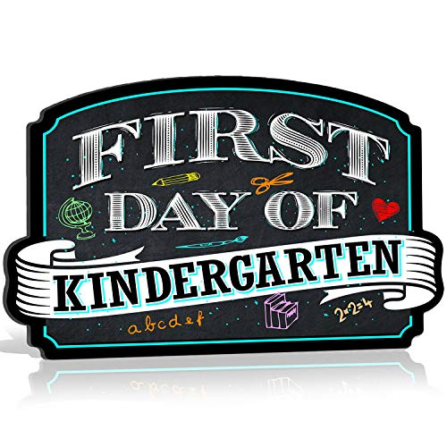 1st Day Of Kindergarten (Bigtime Signs First Day of Kindergarten Sign Board Plaque Back to School Sign for use as Photo Prop for a Boy or Girl 10 inches x 15.5 inches)