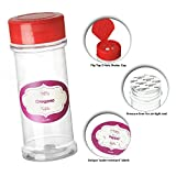 DilaBee Case of 24 - 6 Oz. Empty Plastic Spice Bottles with 120 Unique Water-resistant Spice Labels - For Storing and Dispensing Spices - Perfect Clear Food-Grade Spice Jars for Spice Organization