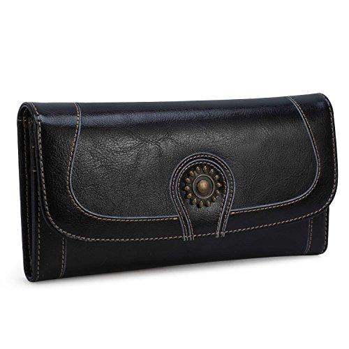 Women Genuine Leather Long Bifold Wallet Credit Card Case Holder Sunflower Black