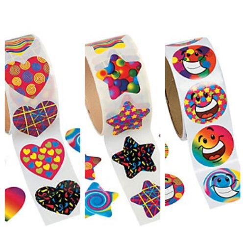 (Awesome DEAL! 3 Rolls of FUNKY STICKERS 100 ea; HEART - STAR - SMILEY FACE - Groovy 60's 70's PARTY Supplies 300)