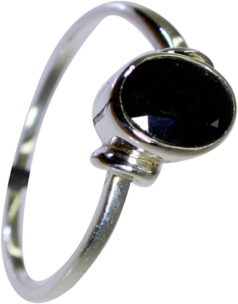 925 Sterling Silver Oval Ring Black Epoxy Gemstone Size 6 7 8 9 10 11
