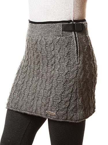 Womens Peruvian Cable Beanie - Everest Designs Women's Cable Mini Skirt, Silver, Large