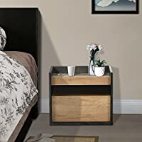 DEVAISE Wood End Table / Night Stand / Bedside Table with Storage Shelf and Drawer