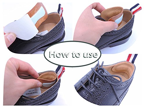 Leather Heel Grips Liner Cushions Inserts for Loose Shoes,Shoe Pads for Shoes too Big, Improved Shoe Fit and Comfort, Khaki,2 Pair