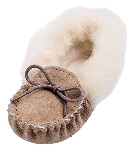 Lambland Girls - Boys Genuine Suede and Lambswool Moccasin Slippers with Soft Sole - Pink - Blue - Beige Beige - Fluffy