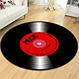 Black vinyl bedroom carpet soft and comfortable wearable and easy to clean ( Size : 140 cm diameter )