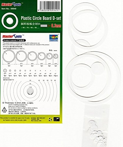 Master Tools 09949 - Modellbauzubehör Plastic Circle Board D-set, Plastikringe für den Modellbau, 0.3 mm, grau