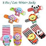 VQ-Ant 8pcs Pack Baby Socks Gift Toys Baby Wrist Rattle and Foot Rattles Finder Socks Monkey and Elephant Plush Toys Set Organic Cotton Socks for Infant and Toddler (8pcs Wrist Socks)