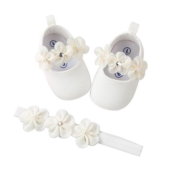 Fossen Recién Nacido Bebe Niñas Zapatos de Flores Y Banda para el Cabello para Bautismo