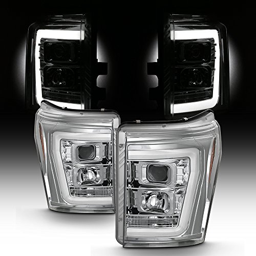 For 2011-2016 Ford F250 F350 F450 F550 Superdury LED Tube Chrome Projector Headlights Driver+Passenger ()