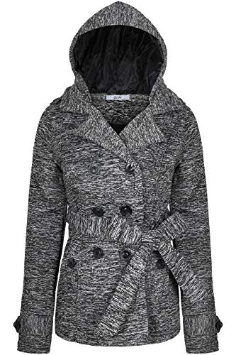 BodiLove Women's Double Breasted Hoodie Short Collared Peacoat w/Belt Black White M(JF2648)