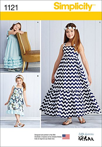 Simplicity 1121 Pull Over Maxi Dress Sewing Pattern for Girls, Sizes 7-14
