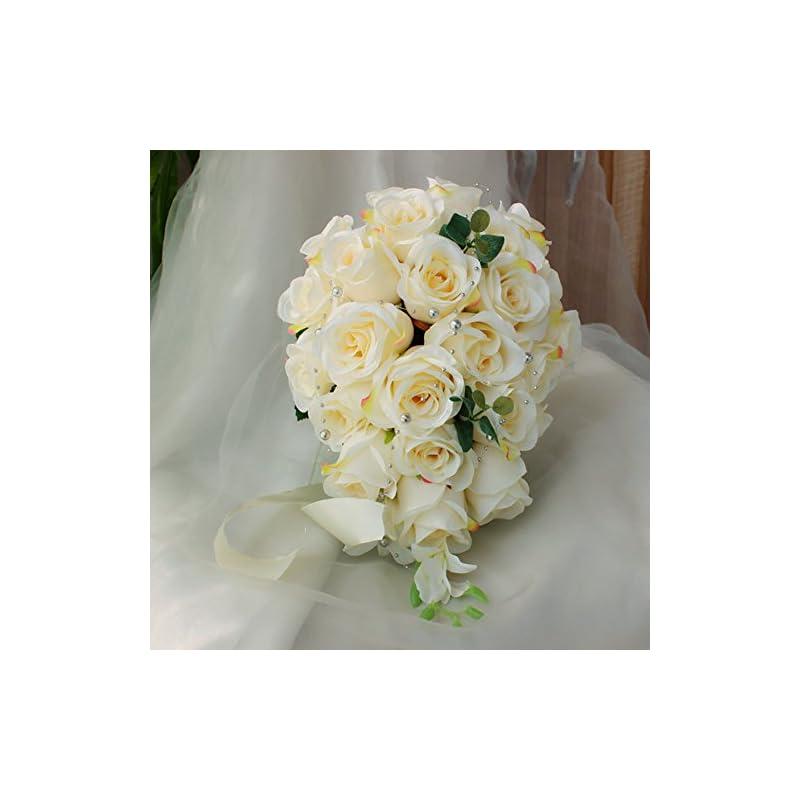 silk flower arrangements jasminelover artificial rose cascading bridal bouquet -26 heads flower for wedding bouquet, flowers bunch hotel party garden floral decor (milk white)