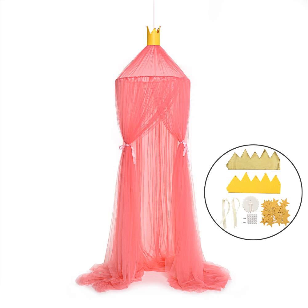 GLXQIJ Hanging Baby Bed Canopy Mosquito Net Dome Dream Curtain Tent Crib Netting Kids Girls Tent Children Room Decor,Red