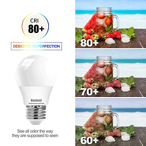 Boxlood Refrigerator Light Bulb, 40Watt Equivalent Fridge Light Bulb, 120V A15 E26 Appliance Light Bulb, 5W 500lm 5000K Daylight, Waterproof Freezer Light Bulb, for Refrigerator, Outdoor/Indoor, 2Pack