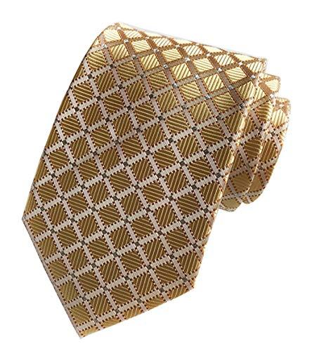 MENDENG Black Gold Striped Tie Woven Jacquard Silk Men