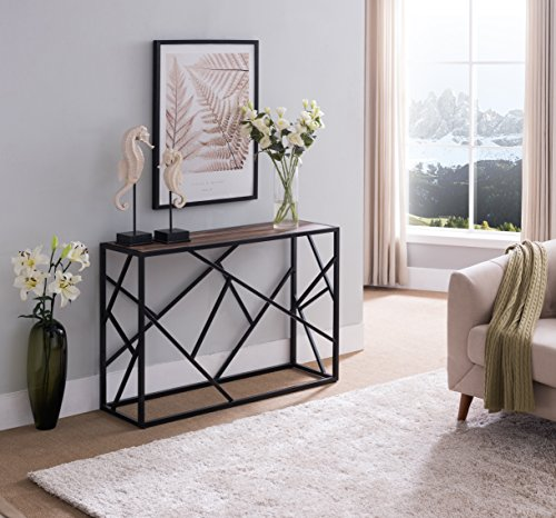 Reclaimed Weathered Oak Finish / Black Metal Frame Console Sofa Table with Abstract Designs